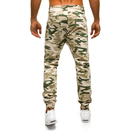 Pantaloni jogger bej cu model militar ATHLETIC 367